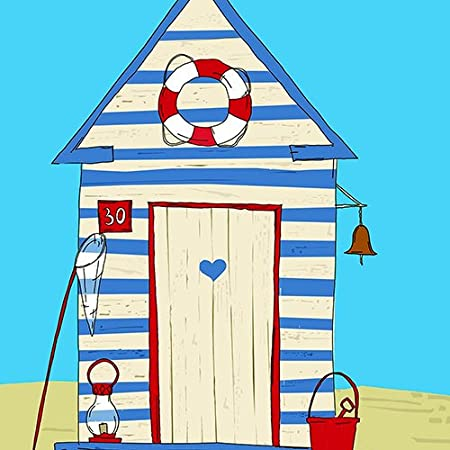Vintage Retro Verano Y Playa Hut Arena Aro Salvavidas Cubo - 16
