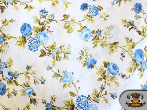 Polycotton Printed FLOWER BLUE Fabric By the Yard The Fabric Exchange