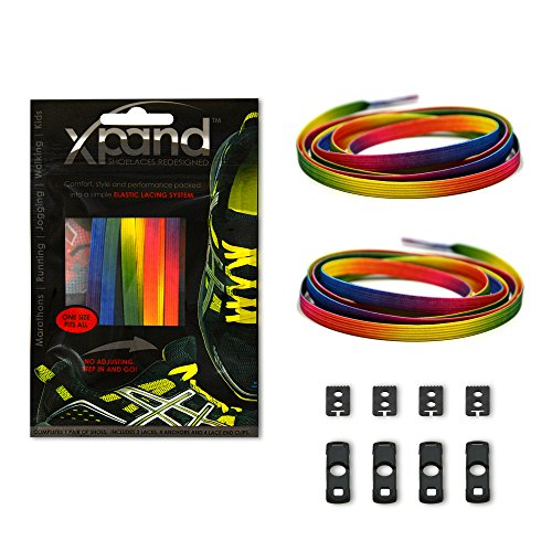 Xpand No Tie Shoelaces System with Elastic Laces - Rainbow - One Size Fits All Adult and Kids Shoes