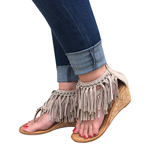 Syktkmx Womens Wedge Sandals Thong Boho Fringe Tassel Ankle Wrap Zip up Summer Beach Slippers - Leather Suede Wrap