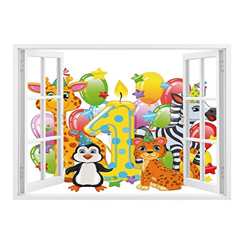 SCOCICI Removable 3D Windows Frame Wall Mural Stickers/1st Birthday Decorations,Kids Party with Baby Safari Animals Zebra Lion Balloons Backdrop,Multicolor/Wall Sticker Mural