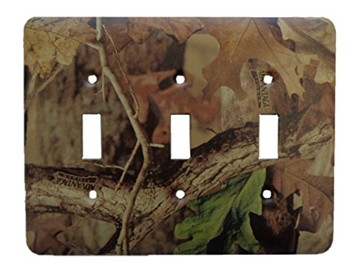 - Advantage Timber Camo Metal Outlet Switch Cover - Triple Toggle