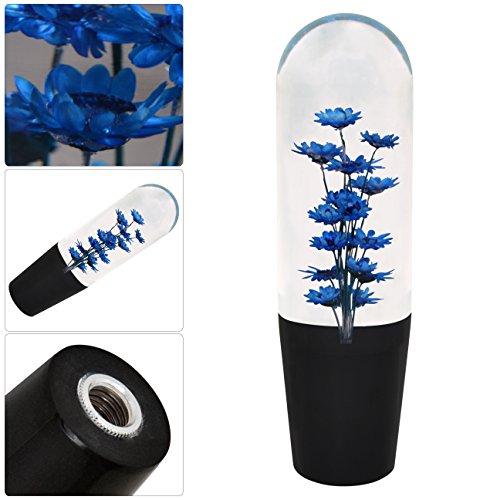 Filled Flower (Universal 150MM Poly Style Flower Filled Shift Knob Transparent Blue M/T)