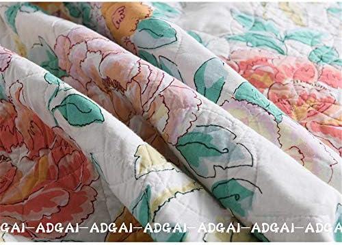 Couvre-lits imprimé fleurs ensemble de couette courtepointes en coton pour lit 3 pièces couvre-lit matelassé King Size couverture couverture et taie d'oreiller