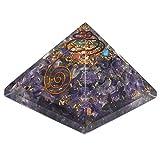 Kala Emporium Large Amethyst Orgonite Pyramid, Orgone Energy Generator for Healing and EMF protection Power Maintain Chakra Aura Balancing 70mm