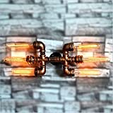 Industrial Wind Wall Lamp Retro Water Pipe Lamp Steam Punk Light Bar Restaurant Coffee Shop Club Decoration Lamp Barn Garage Villa Lighting E27 Lamp