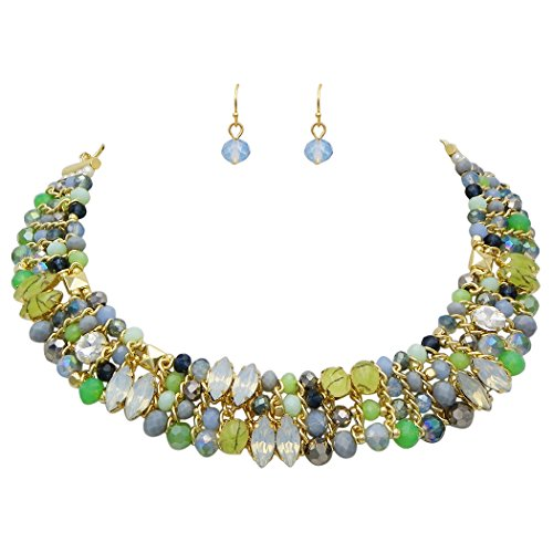 Rosemarie Collections Women's Crystal Bead and Stone Statement Collar Necklace Set (Green)