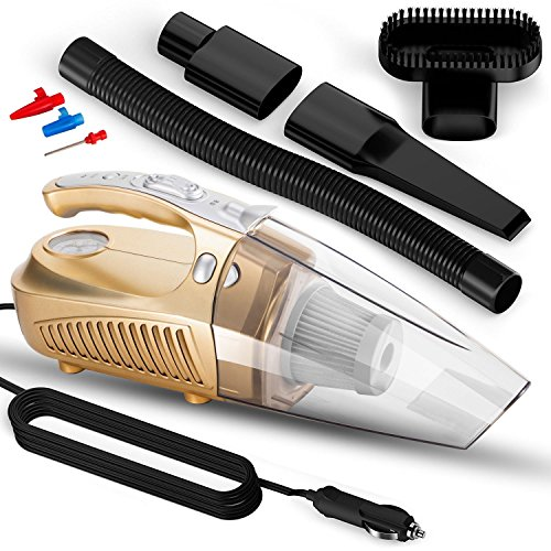 Car Vacuum Cleaner, Cheyoll 4 In 1 12V 100W Handheld Portable Car Vacuum Wet&Dry Multi Function 14.76ft (4.5M) Power Cord HEPA Washable Filter