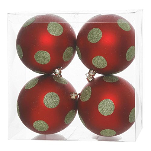 pack of 4 red matte lime green glitter polka dot christmas ball ornaments 4 100mm