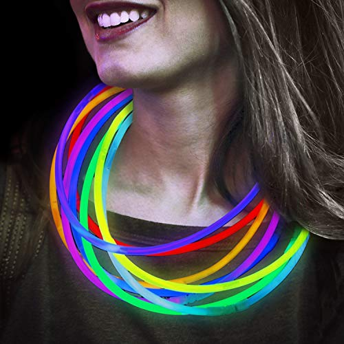 Lumistick 22 Inch Glow Stick Necklaces | Non-Toxic & Kids Safe Light Up Neckwear | Bendable Light Sticks with Connectors | Glows in The Dark Chem Lights (Color Assortment, 50 Necklaces) -