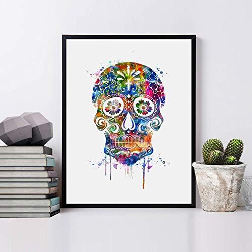 (Skull Art Print Watercolor Wall Art Wall Hanging for Kids Wall Decor Flower Sugar Skull Decor Painting Art Paper Painting Decor 8x10 inch No Frame )