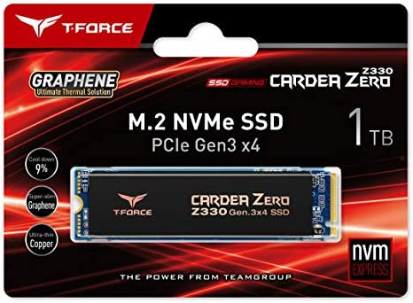 TEAMGROUP T-FORCE CARDEA ZERO Z330 1TB with SLC Cache Graphene Copper Foil 3-d NAND TLC NVMe PCIe Gen3 x4 M.2 2280 Gaming Internal SSD (Read/Write 2,100/1,700 MB/s) for Laptop & Desktop TM8FP8001T0C311