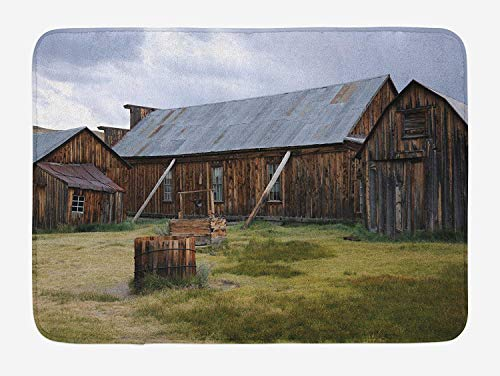 Weeosazg United States Bath Mat, California Old Barn of A Country House American Rural View, Plush Bathroom Decor Mat with Non Slip Backing, 31.5 X 19.7 Inches, Purplegrey Brown Olive Green]()