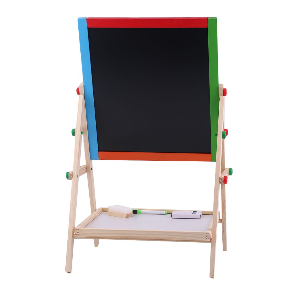 Large Adjustable Children Kids 2 In 1 Black White Wooden EaselDrawing Board by Worldpride1 (Image #7)