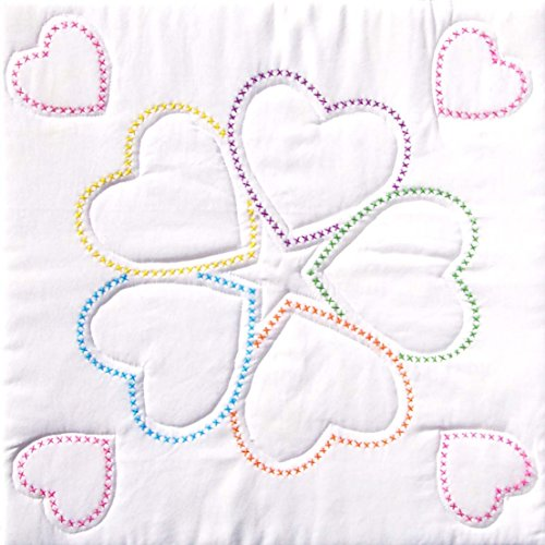 Jack Dempsey Stamped White Quilt Blocks 18 by 18Inch 5XXHearts 6Pack