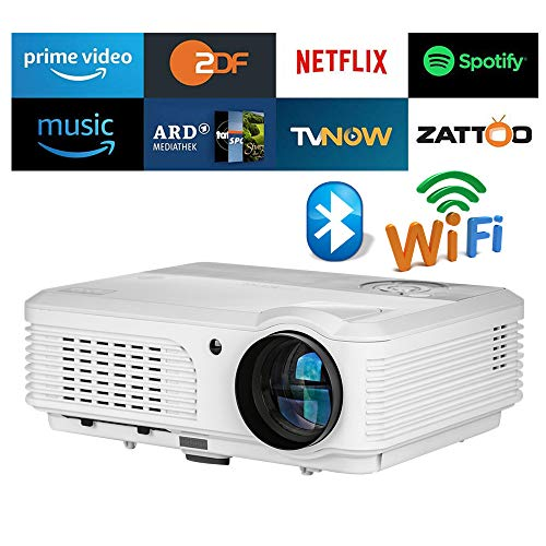 - 4400 Lumens LED Smart HD Wifi Video Projector with Bluetooth HDMI USB,WXGA Bluetooth Home Theater Wireless Projectors Support 1080P Airplay Miracast for iOS Android Phones Laptop PC DVD TV PS4 Outdoor