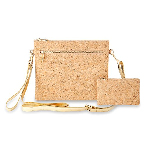 Collection Leather Small Messenger (Multiple Pockets CrossBody Bag Clutch Shoulder Bag Purse Cork ECO Women Girls Coin Card Organizer 2PCS Set)