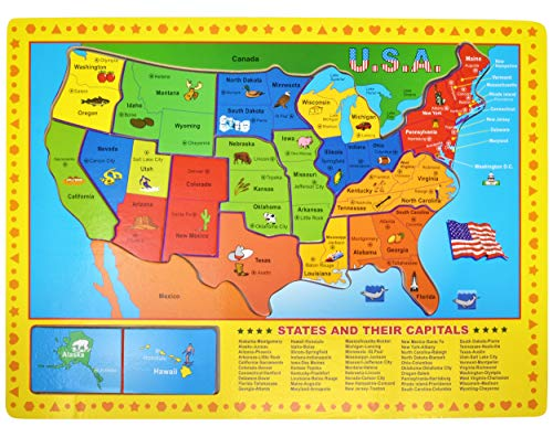 USA Map Wooden Puzzle - 17 Large Jigsaw Puzzle Board, Learn Geography of United States of America and Capitals, Educational Fun Learning Toy for Kids Girls and Boys