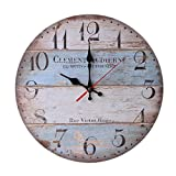12 Inch Retro Wooden Wall Clock Farmhouse Decor,KingWo Silent Non Ticking Wall Clocks Large Decorative – Big Wood Atomic Analog Battery Operated – Vintage Rustic Colorful Tuscan Country Outdoor (C) For Sale