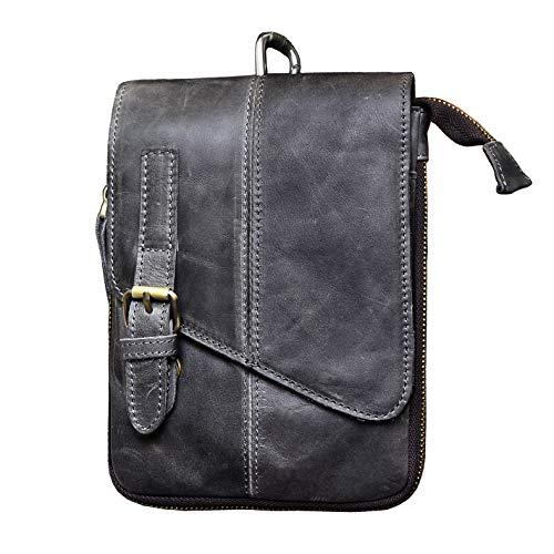Le'aokuu Mens Genuine Leather Fanny Messenger Shoulder Satchel Waist Hook Bag Pack (Large Grey)