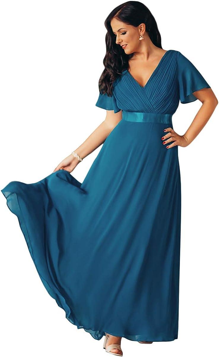 Ever-Pretty Robe de soir/ée en Double V-col et Manches Courtes 09890