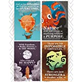 Kids Classroom Posters Inspirational & Motivational Jules Verne Phrases. Great Gift for Kids Who Love Adventure On The Sea, Outer Space, Around The World or The Center of The Earth