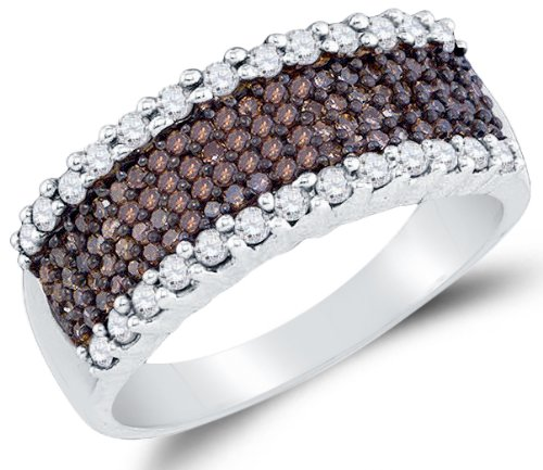 Sonia Jewels Size 7-925 Sterling Silver Channel Set Round Cut Chocolate Brown and White Diamond Ladies Womens Wedding Band OR Anniversary Ring (.77 cttw.)