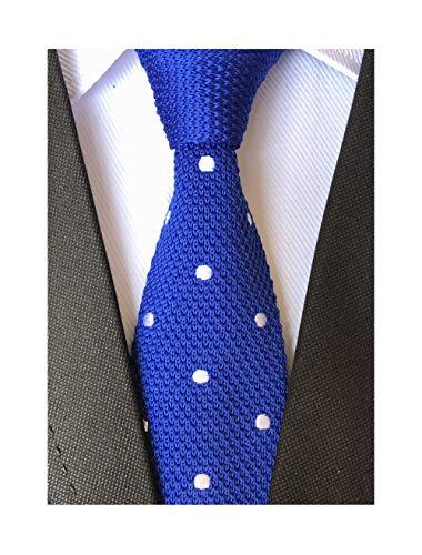 Men Big Boys Vintage Casual Formal Gentleman Knit Tie Royal Blue Narrow Neckties