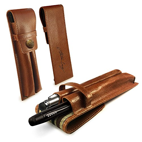 - Alston Craig Vintage Leather Executive Dual Pen Holder - Brown (Compatible with MontBlanc, Sheaffer, Cross)