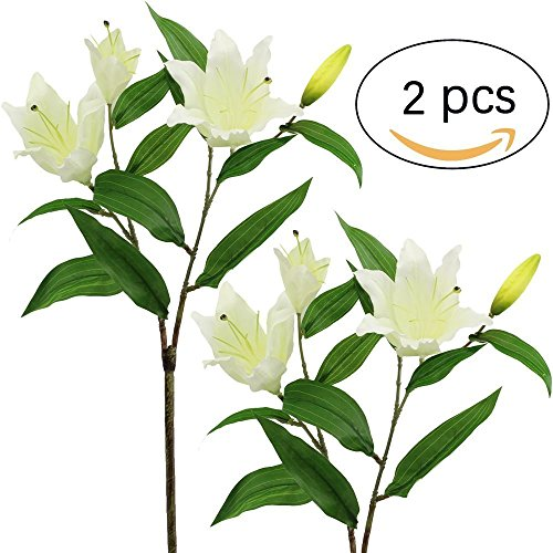 Supla 2 Pcs Real Touch Silk Flower Multi-headed Tiger Lily Spray with leaves blooms and buds 29