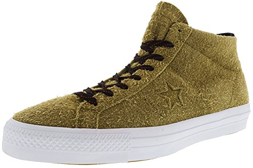 Converse One Star Pro Suede Mid Antiqued/Black White Mid-Top Fashion Sneaker - 12.5M 10.5M (One Star Mid Top)