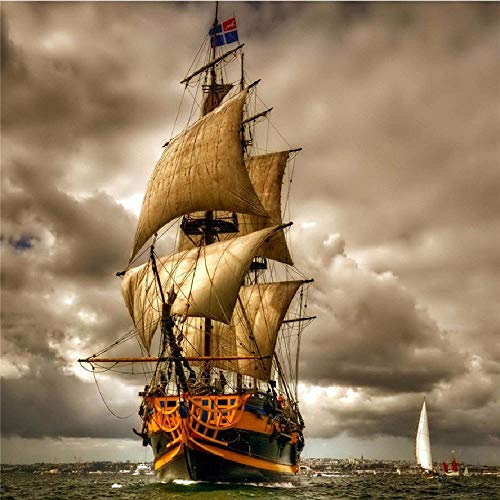 Jigsaw Puzzle 1000 Piece Big Sailing Ship at Sea Art Paintings (Christmas At Cottages Scotland)