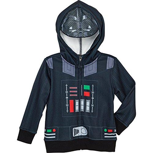 Superhero Little Boys' Zip-up Fleece Hoodie with Mesh Mask, 4T, Darth Vader]()