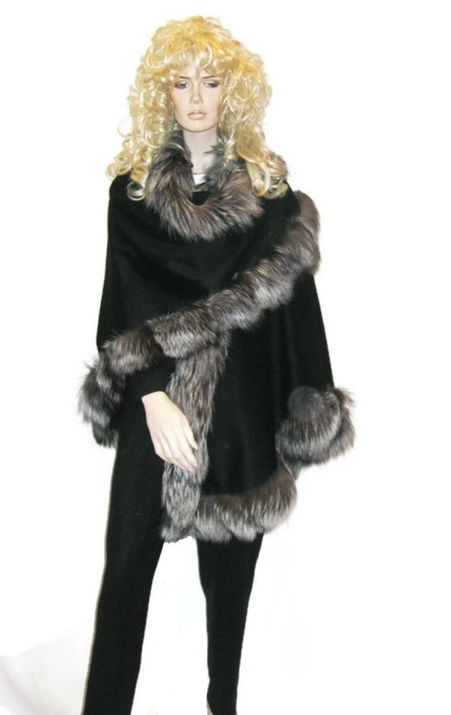 CAPE- CASHMERE CAPE WITH FOX TRIM ALL AROUND FROM CASHMERE PASHMINA GROUP (SILVER FOX) by Cashmere Pashmina Group