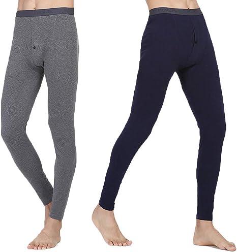 NYKKOLA Mens Thermal Long Johns Underwear Soft Cotton Base Layer Thermals Pants L-XXXL Linen Grey