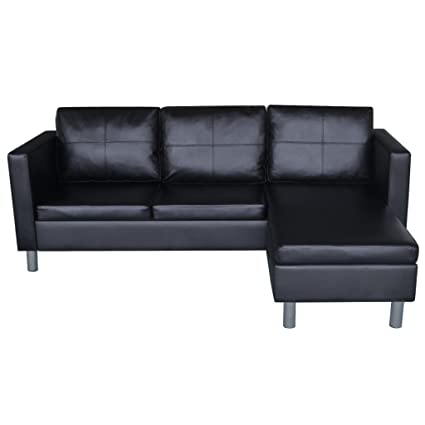 Amazon.com: Anself 3-Seater Bonded Leather Sectional Sofa L-shaped ...