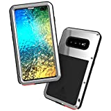 LOVE MEI Sturdy Cell Phone Case for Samsung Galaxy S10 Plus Full Body Shockproof Metal Cover with Tempered Glass Screen Protector Heavy Duty Military Tank Phone Armor (Silver)