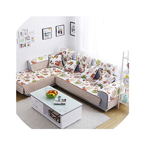 Sofa Cover Corner Sofa Cover L Shape Sectional Couch Slipcover Single-Sided Print Cotton Quilting Sofa Towel Couch Protector,Sc522-02,90210Cm