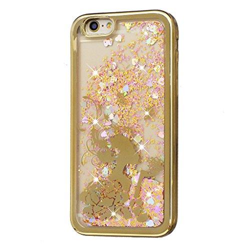 """Crisant Flüssig Fließende Bling Gold Mädchen Design schutzhülle Hülle für Apple iPhone 6 Plus / 6S Plus 5.5"""" (5,5''),Netter kleiner Bär Luxury Tasche Schutz weich Silikon TPU Transparent Back Handy Ca"""