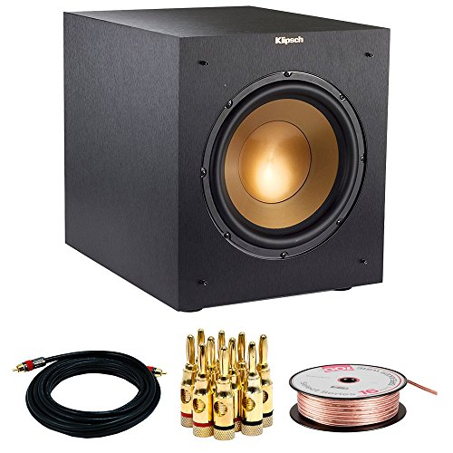 Klipsch R-10SWi Powerful 10 300w Wireless Subwoofer (1063513) w/ Accessories Bundle Includes, 15FT Coaxial A/V RCA CL2 Rated Cable 75ohm, 16 AWG Speaker Wire, 100ft & Brass Speaker Banana Plugs