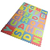 Joefan EVA foam puzzle mat,Kids Puzzle Alphabet,Play Mat,26 Titles and Edges EVA Foam Mat for Kids,12'' by 12''