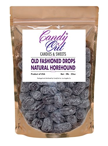 Natural Horehound Drops 2 Pounds Old Fashioned Hard Candy in CandyOut Sealed Stand Up Bag ()
