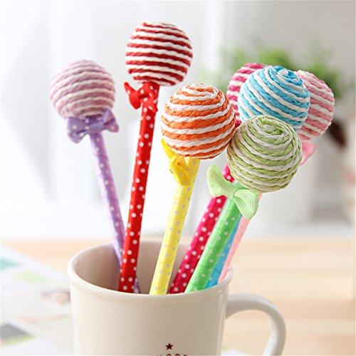 Yansanido Pack of 12 Colorful Lollipop Gel Ink Pen for School, Office, Family use (Lollipop shape A)