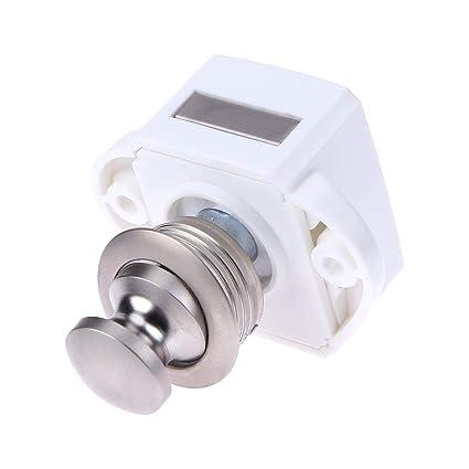Matefielduk Cerraduras de botón pulsador sin llave Camper Car Lock RV Caravan Boat Latch (PN