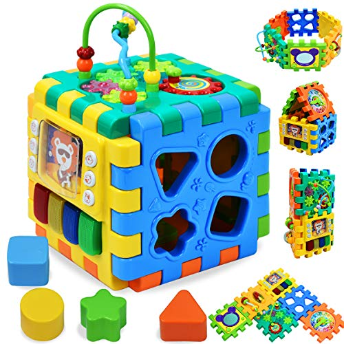Forstart Activity Cube | 6 in 1 Multipurpose Play Center for Kids Toddlers Shape Color Sorter Beads Maze Time Learning Clock Skill Improvement Educational Game Toys Busy Learner Cube