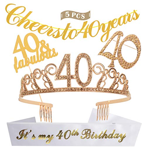 40th Birthday Decorations Party Supplies | Gold 40th Birthday Tiara | 40th White Satin Sash It's my 40th Birthday | Gold Glittery Cheers to 40 Years Banner | Cake Topper | Golden Rhinestone Brooch