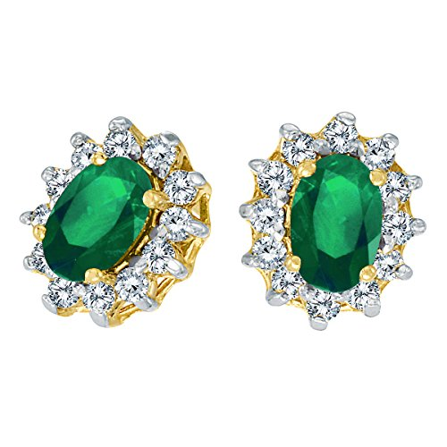 14k-Yellow-Gold-Oval-Emerald-and-25-total-ct-Diamond-Earrings