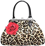 Lux De Ville Lucky Me Kiss Lock Bag Faux Leopard with Rose Handbag Purse Retro Vintage