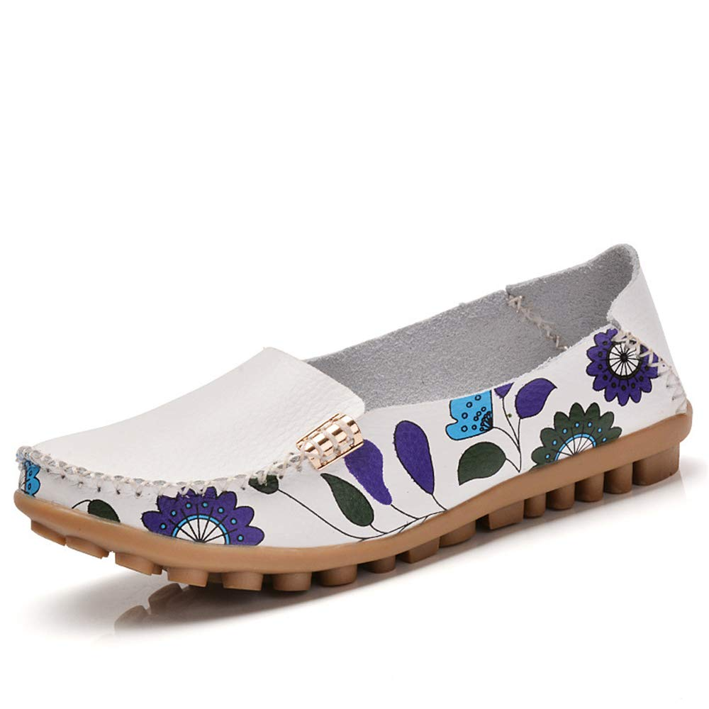 M White-Lable 38//7 B US Women Womens Cowhide Floral Print Flat Casual Slip on Driving Loafer Shoes