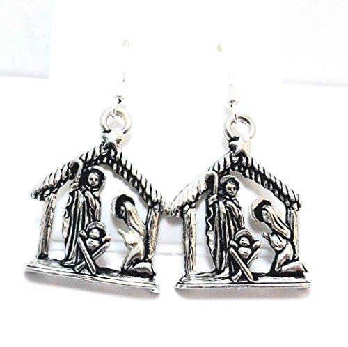 Nativity Scene Charm - Pewter Nativity Scene Charms on Hypoallergenic French Hook Dangle Earrings